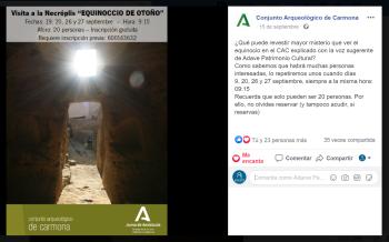Publicación del Facebook del Conjunto Arqueológico de Carmona
